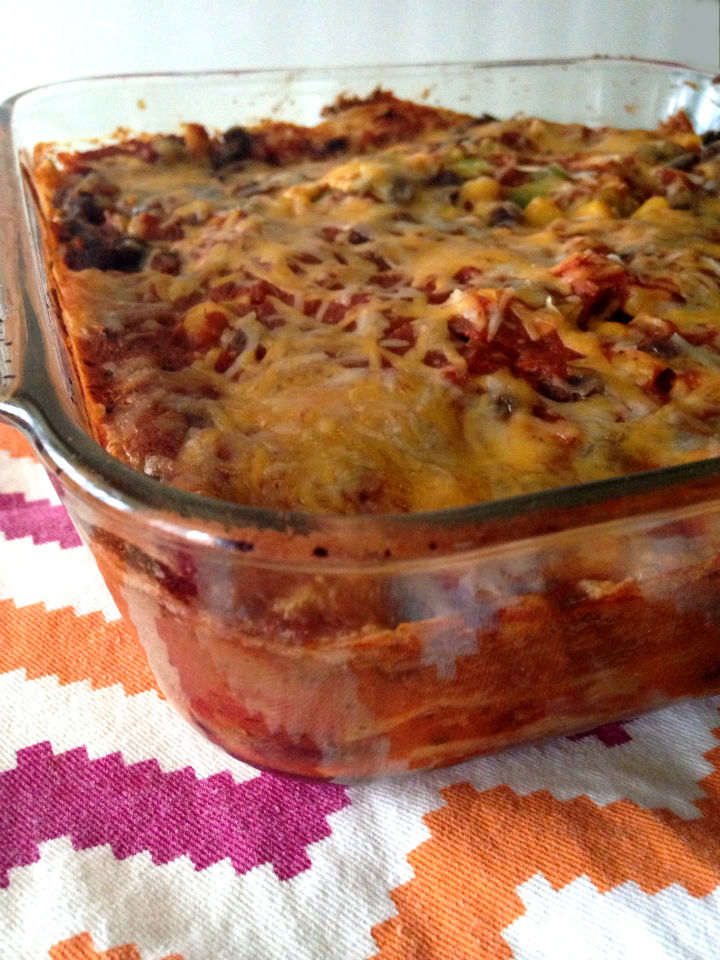 Vegetarian Mexican Lasagna Recipe -- A healthy dinner meal idea the whole family will love! #glutenfree