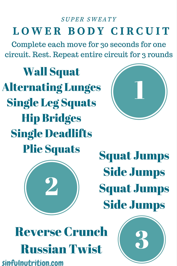 Super Sweaty Lower Body Circuit Routine -- A quick and dirty fitness routine you can do at home.