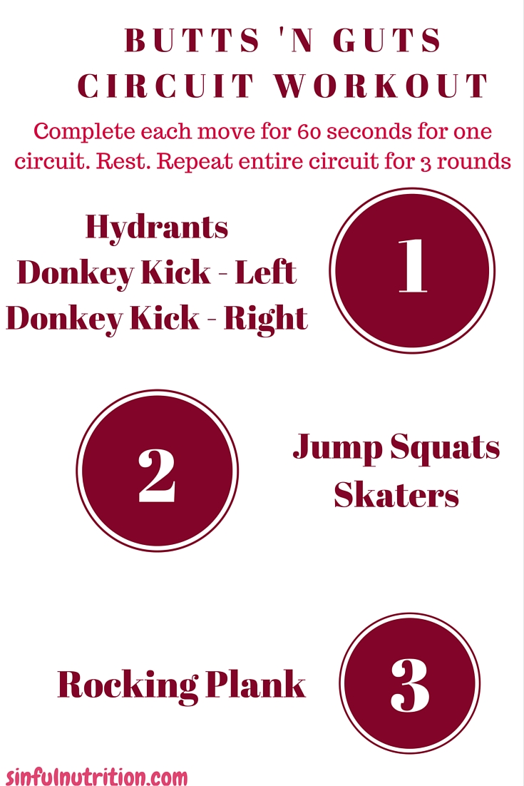 Butts 'N Guts Circuit Workout - A 20 minute at-home fitness routine that will kick your abs and booty into gear!