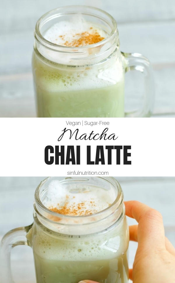 A quick and easy recipe for a matcha chai latte using almond milk, matcha powder, chai tea, and cinnamon. No added sugar, and vegan-friendly! | #sinfulnutrition | @sinfulnutrition | #chailatte | #matchalatte | #greentealatte | #almondmilklatte | #noaddedsugar