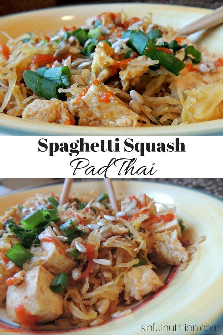 Vegetarian Spaghetti Squash Pad Thai - A healthy and low-carb version of a Thai classic. The sauce is so easy, and you probably have everything you need at home!