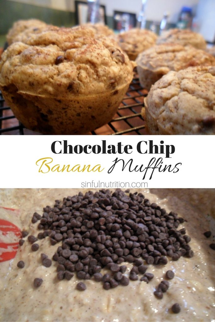 Vegan Chocolate Chip Banana Muffins -- No added sugar, flour, or oil makes this recipe healthy enough for breakfast! Plus a trick to make them super moist each time. #vegan #glutenfree