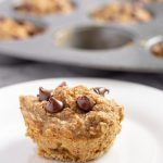 Vegan Chocolate Chip Banana Muffins on Plate by Muffin Tin