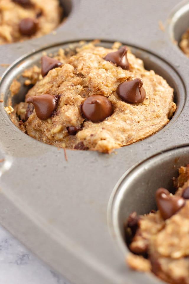 Vegan Chocolate Chip Banana Muffins in Muffin Tin