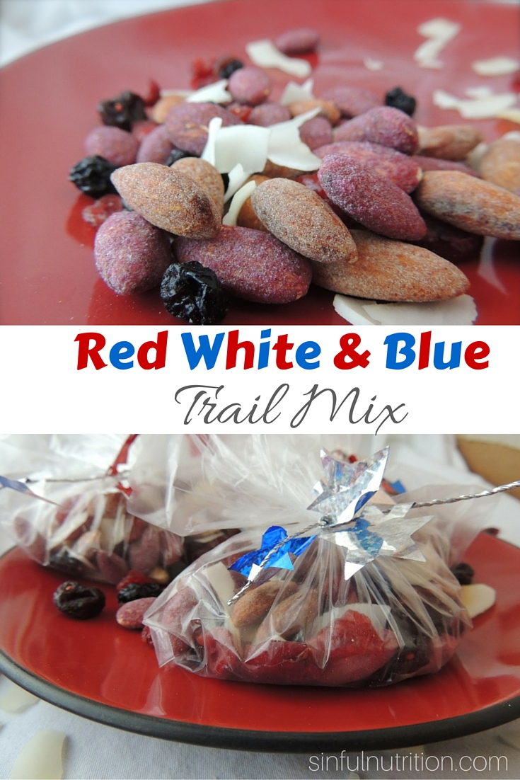 Red White & Blue Trail Mix Recipe -- A festive and healthy snack idea for all of your Fourth of July celebrations!