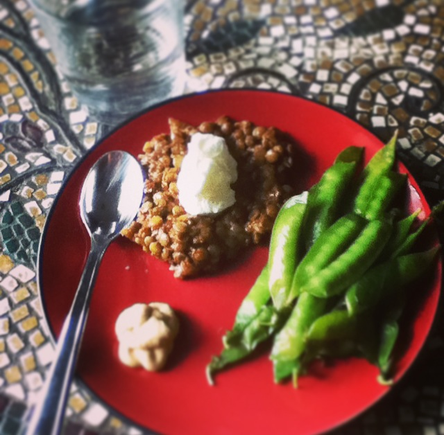 Lentils and Snap Peas