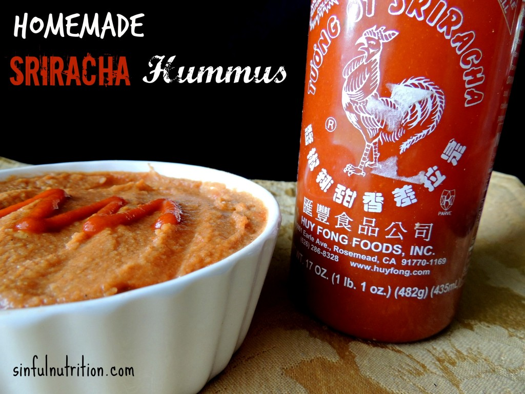 Spicy Sriracha Hummus - A quick and easy recipe with no added oils or tahini required! I literally dip everything in this!