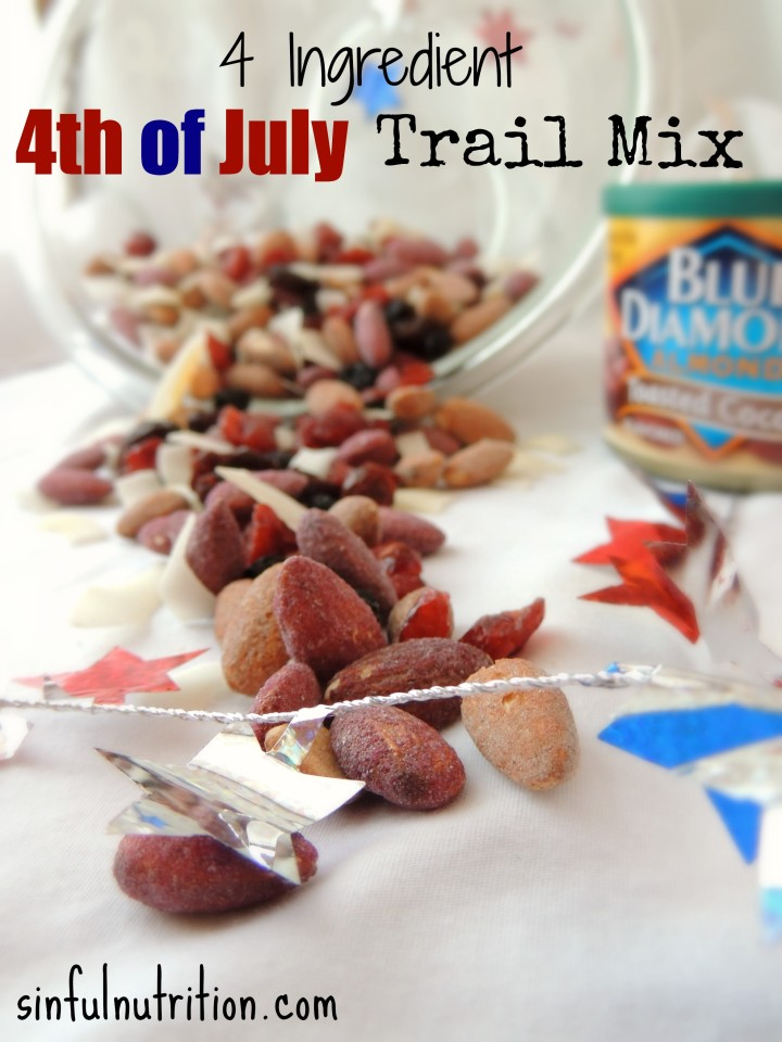 Red White & Blue Trail Mix Recipe — A festive and healthy snack idea for all of your Fourth of July celebrations!