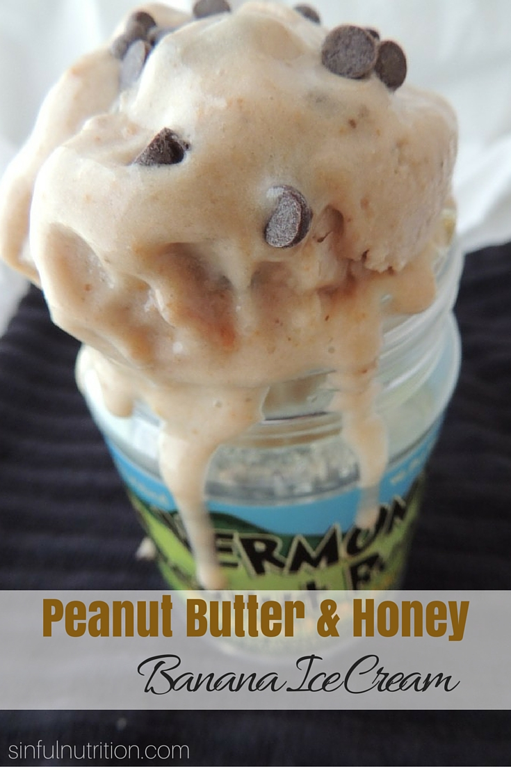 Peanut Butter & Honey Banana Ice Cream - A dairy-free ice cream recipe with no added sugar! Only four simple ingredients, and no ice cream maker required!