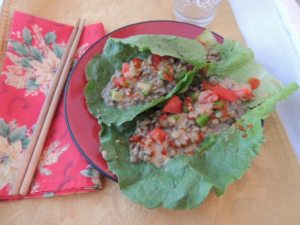 Thai Lentil Salad Lettuce Wrap -- A healthy vegan and gluten free recipe for a Thai-inspired lunch. The peanut sauce is what makes it so incredibly delicious!