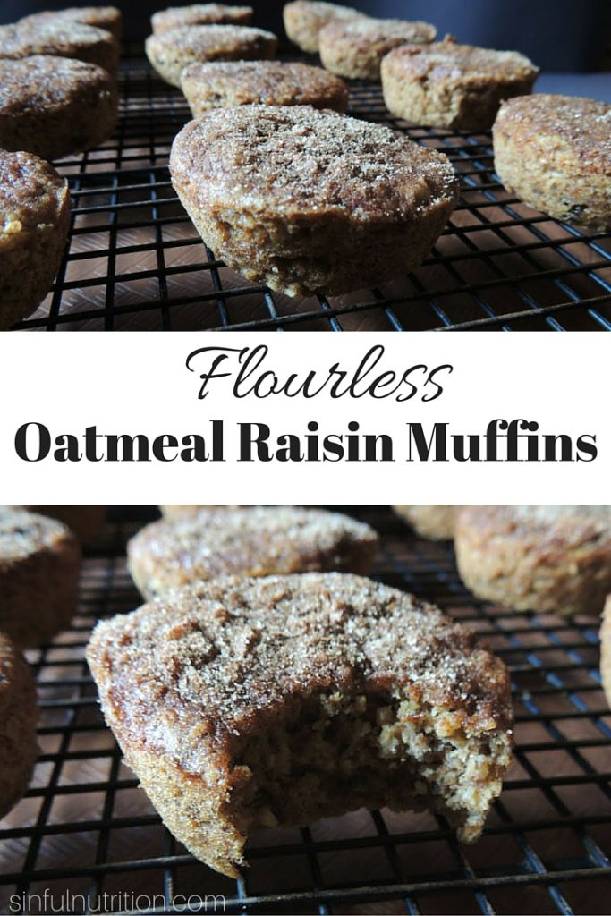 Flourless Oatmeal Raisin Muffins -- A gluten-free and vegan muffin recipe that's healthy enough for breakfast, but tastes like dessert. The cinnamon sugar topping is a must!