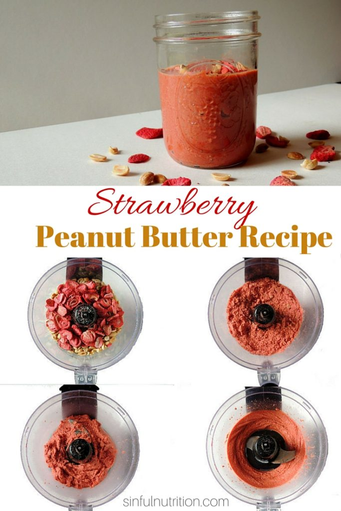 Strawberry Peanut Butter Recipe -- Just peanuts, freeze-dried strawberries, and salt is all you need to make a healthy peanut butter like you've never had before!