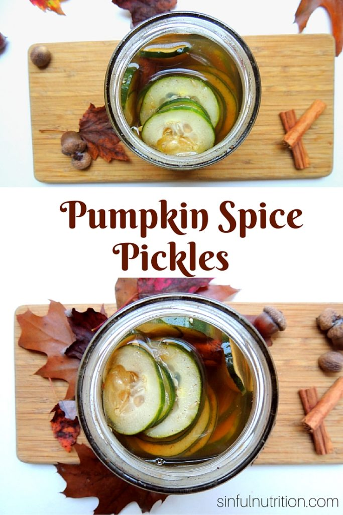 Pumpkin Spice Pickles Recipe -- Homemade refrigerator pickles get pumpkin spiced! Sweet and tangy with cinnamon and spices.