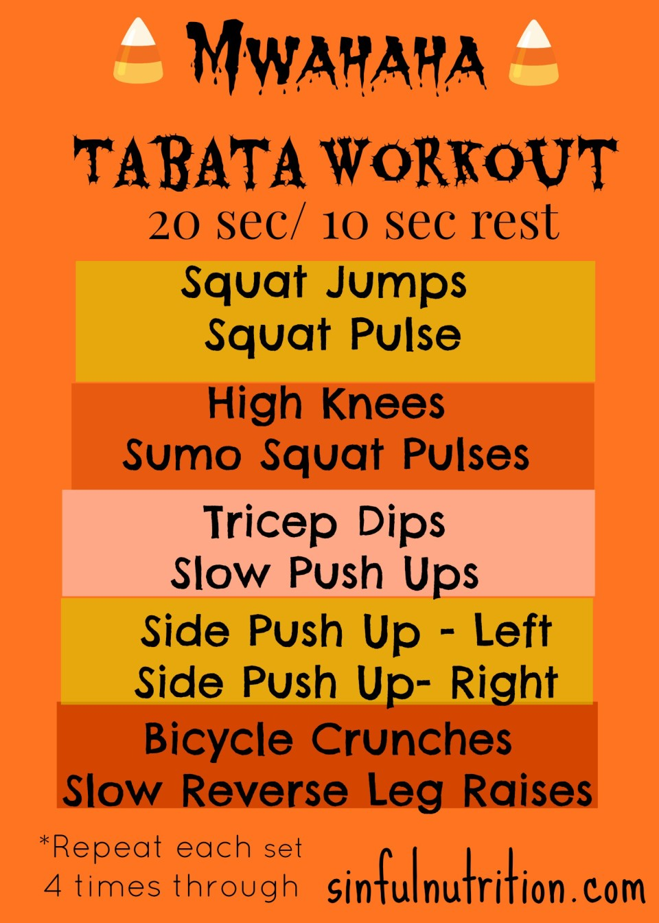 A quick & dirty 20 minute tabata workout. It's scary how fast you'll be a sweaty mess!