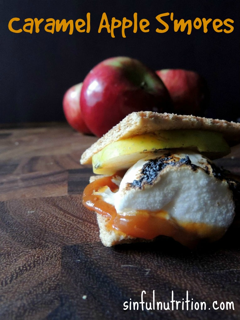 Caramel Apple S'mores Recipe -- Two of my favorite fall desserts in one! Perfect treat to have around a campfire.