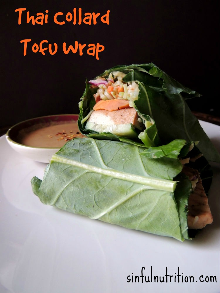 Thai Collard Green Lettuce Wrap Recipe -- A healthy vegan sandwich made with marinated tofu and a tangy peanut sauce.
