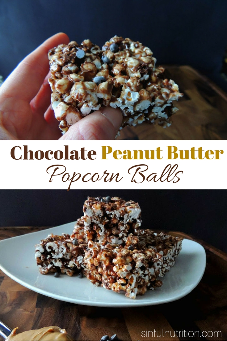 Chocolate Peanut Butter Popcorn Balls Recipe -- A sweet treat made with no refined sugar or oil. Warning: These never last too long, so be prepared to make a double batch!