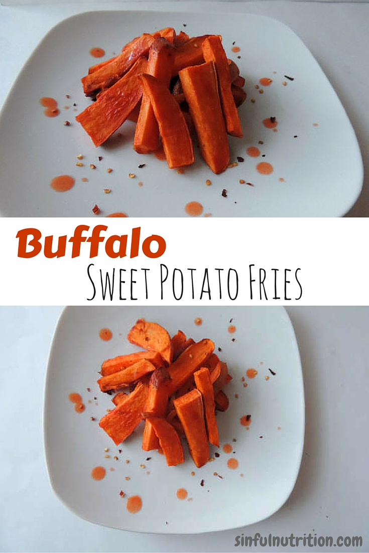 Buffalo Sweet Potato Fries -- A secretly healthy recipe, and only a handful of ingredients! I LOVE the sweet & spicy combo!