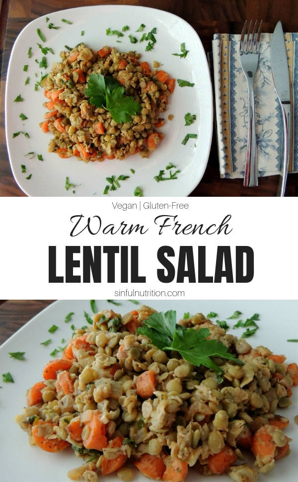Warm French Lentil Salad with Text Overlay