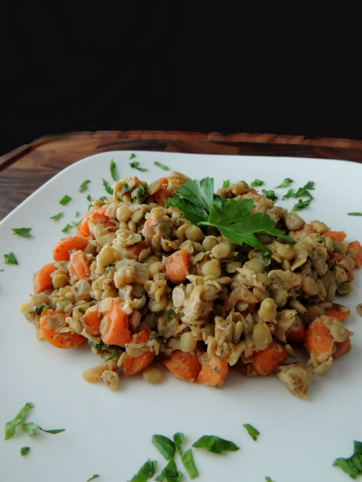 This Warm French Lentil Salad Recipe is packed with protein for a super satisfying and healthy meatless meal you can make during the week. #vegan #glutenfree