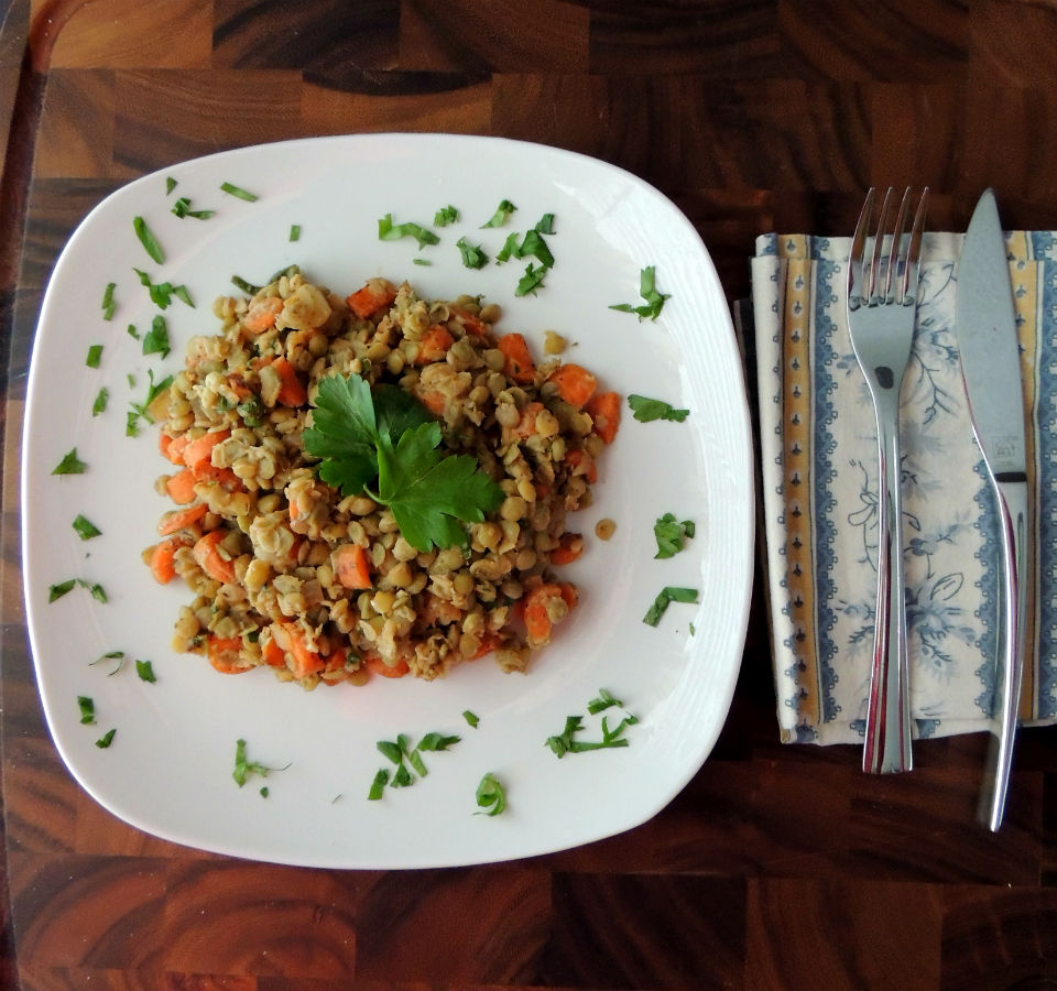 Warm French Lentil Salad Recipe Overhead
