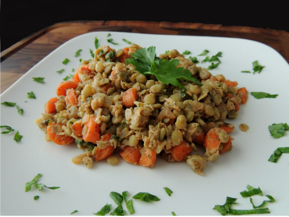 Plate of Warm French Lentil Salad Recipe