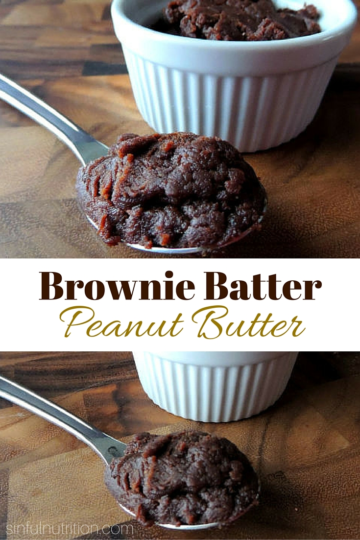Brownie Batter Peanut Butter Recipe -- A homemade peanut butter that tastes JUST like brownie batter! Less than 5 ingredients, and no added sugar! #vegan #glutenfree