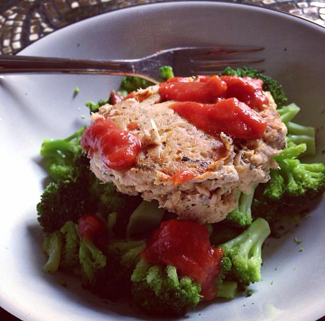 salmon pattie and broccoli bowl