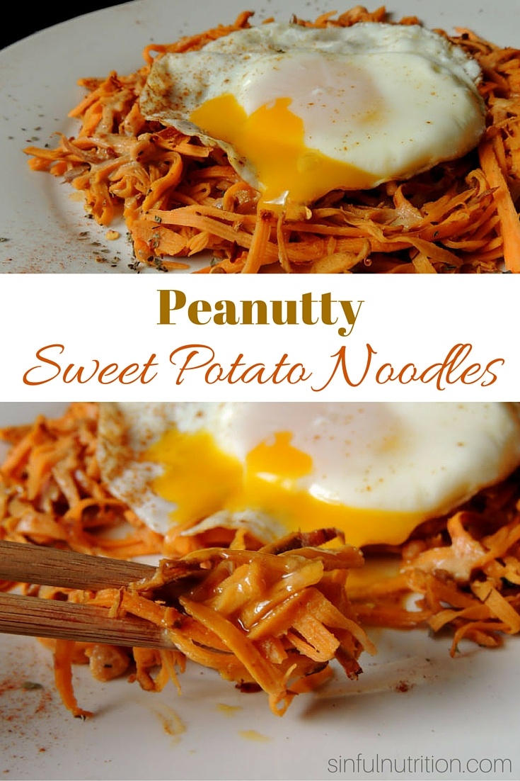 Peanutty Sweet Potato Noodles -- A #glutenfree recipe with a tangy and addicting peanut sauce. A quick & easy veggie-packed dinner idea!