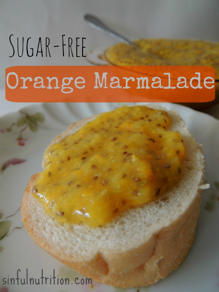 Sugar Free Orange Marmalade -- A no-cook recipe made with chia seeds and stevia. Perfect for slathering on toast!