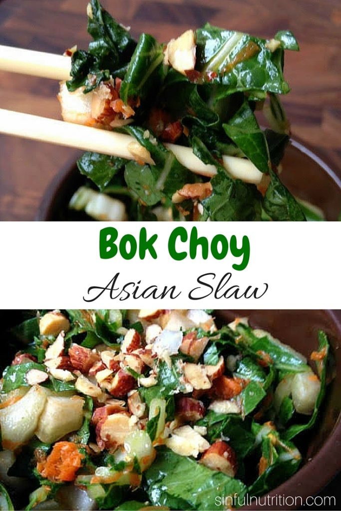 This sweet and tangy Asian slaw made with bok choy is a fun twist on a summer classic, and a great way to use up your garden bounty. #vegan #glutenfree