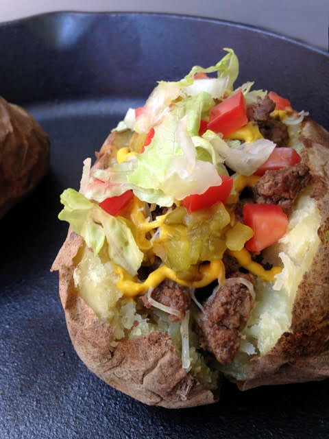 Burger Loaded Baked Potato