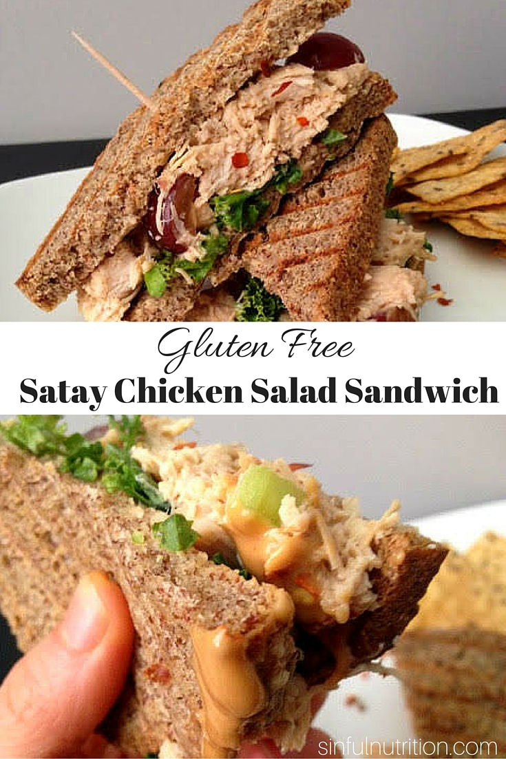 A gluten free chicken salad sandwich recipe with a twist! You'll want to put this healthy peanut sauce on everything!