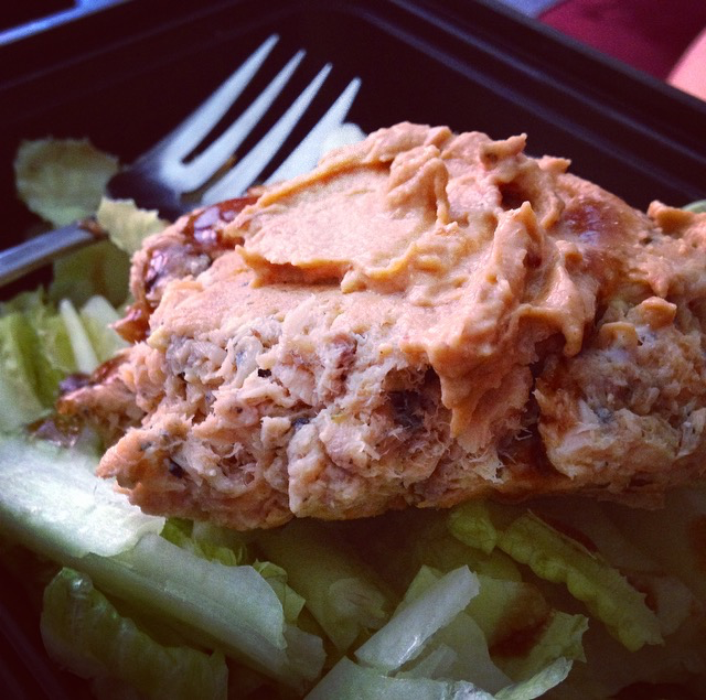 Salmon Pattie with Hummus