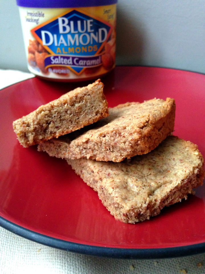These salted caramel blondies have only three ingredients, and take no time to make. An easy and healthy dessert or treat!