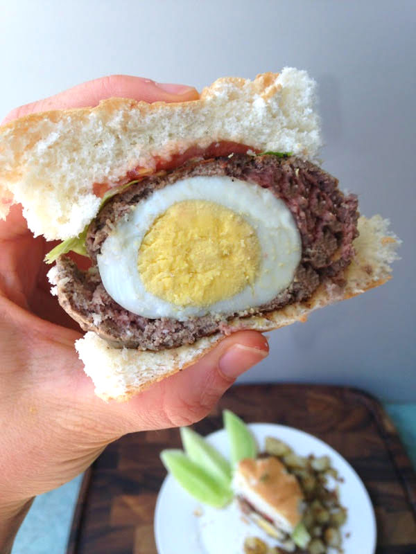 Whip up this scotch egg breakfast burger recipe for a unique and satisfying meal to power you through until lunch.