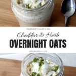 Cheddar and Herb Savory Overnight Oats Recipe with Text