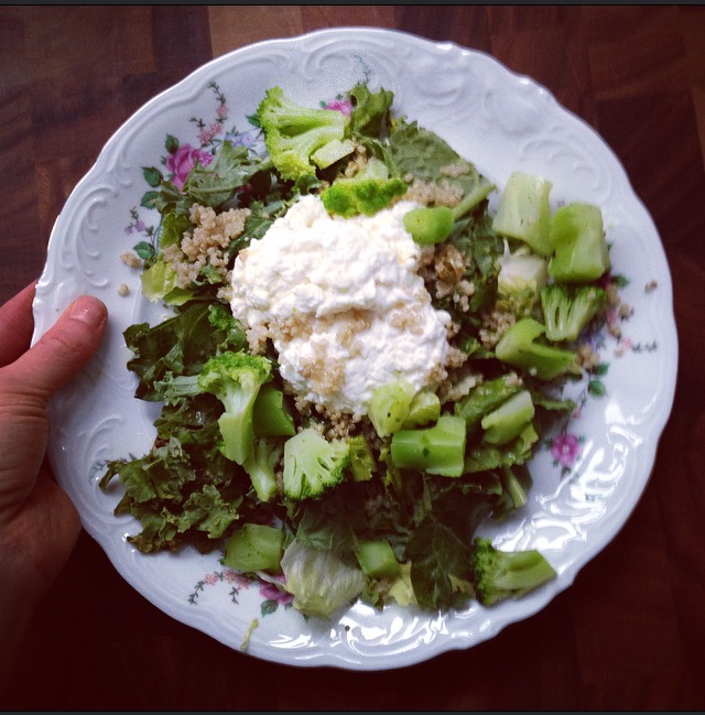 Cottage cheese on salad
