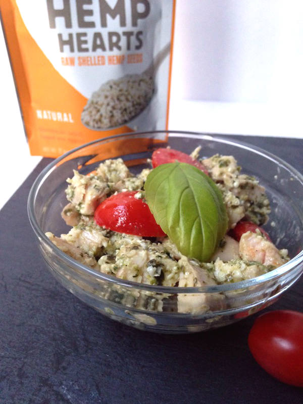 This pesto chicken salad is a protein packed recipe to change up your usual sandwich routine!