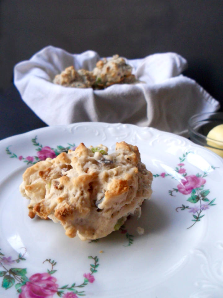 Stuffing Drop Biscuits Recipe -- Both of your favorite Thanksgiving sides combined into one! Can't wait to make a Thanksgiving leftover sandwich with these!