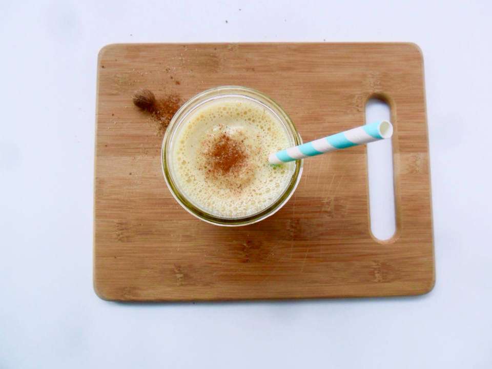 This High Protein Eggnog Smoothie is a healthy recipe to start off the holidays, or any day. A festive breakfast on the go!
