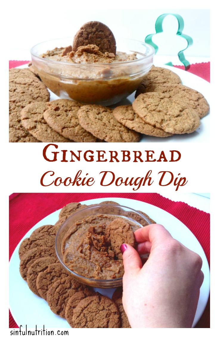 Healthy Gingerbread Cookie Dough Dip -- No flour, no refined sugar, or oils. Dig into this festive dessert dip without the guilt! #vegan #glutenfree