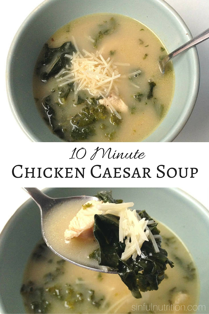 10 Minute Chicken Caesar Soup - Use up your leftover chicken to turn this salad classic into a slurp-able meal in minutes! #AD #glutenfree