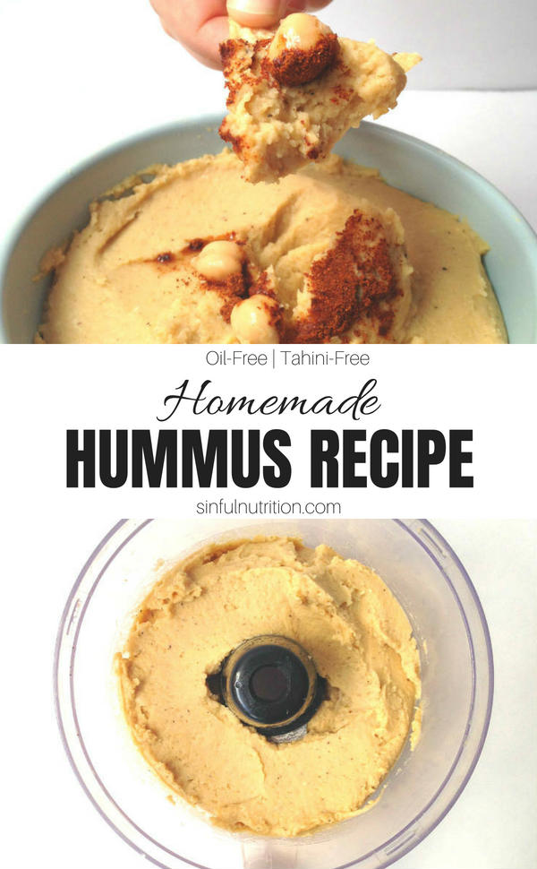 5 Minute Homemade Hummus Recipe -- The easiest hummus you'll ever make. No oil or tahini required! | @sinfulnutrition | #sinfulnutrition | #hummus | #snacks | #recipe | #oilfree | #glutenfree | #snack | #dip | #healthysnack