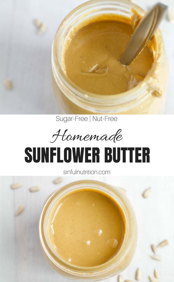 Homemade Sunflower Butter Recipe -- Make your own sunflower seed butter at home in just five minutes, with 2 ingredients, and at a fraction of the price of store-bought! | @sinfulnutrition | #sinfulnutrition | #sunflowerseed | #sunbutter | #nutfree | #seedbutter | #allergenfree | #vegan | #vegetarian | #glutenfree | #sunbutter