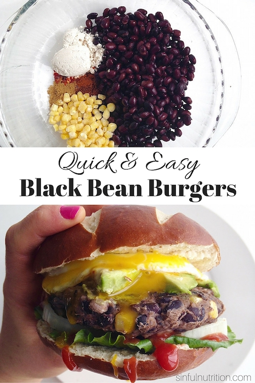A Quick & Easy Bean #Burger Recipe -- Made with only a few simple ingredients you probably already have in your pantry! Both #glutenfree and #vegan, and easily customizable. | #vegetarian | #plantbased | @sinfulnutrition