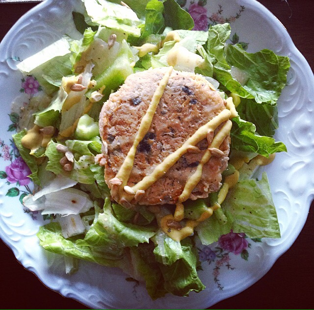 Salmon Patty Salad