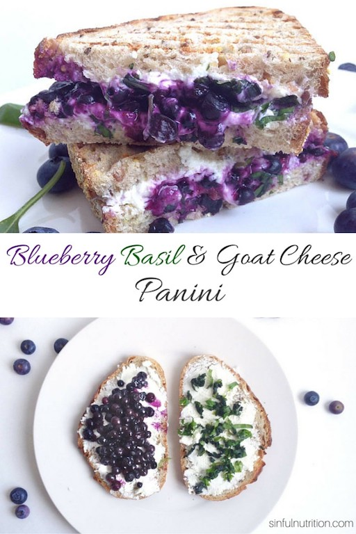 Creamy goat cheese, wild blueberries, and fresh basil combine into this irresistible Blueberry Basil & Goat Cheese Panini Sandwich. Your lunch game will never be