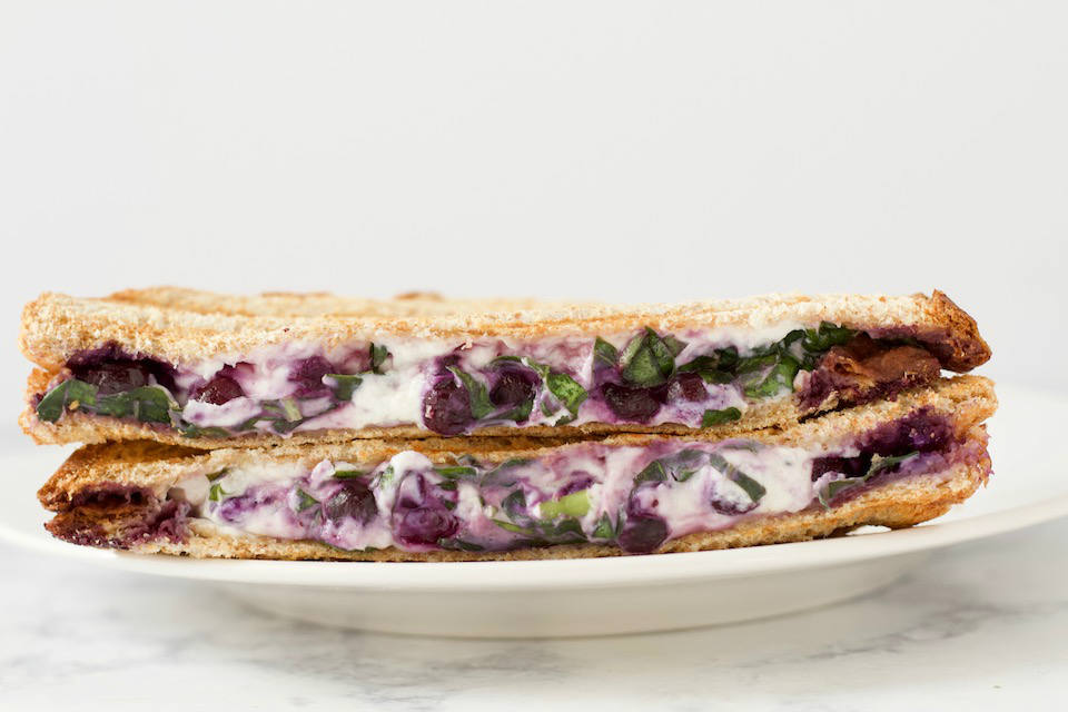 Stacked Blueberry Basil Goat Cheese Panini Sandwich