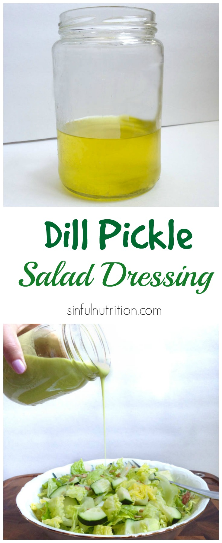 Calling all pickle lovers! A tangy and creamy dill pickle salad dressing recipe made with pickle juice, avocado, and olive oil. #paleo #vegan #glutenfree #healthy